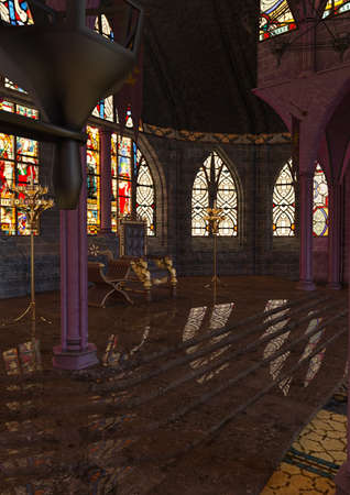 3D rendering of a medieval royal hall