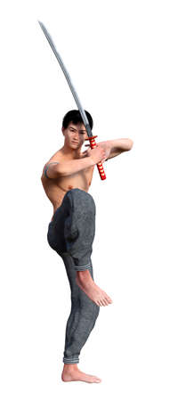 3D rendering of a fighting monk holding a sword isolated on white background Stock Photo