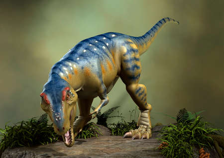3D rendering of a dinosaur Tyrannosaurus on a green forest background
