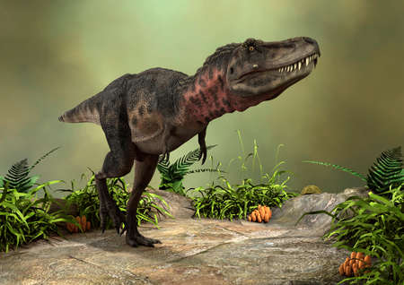 3D rendering of a dinosaur tarbosaurus on a green forest background