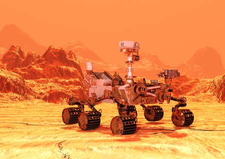 3D-Darstellung eines Mars-Rover-Raumfahrzeugs auf einem roten Planetenlandschaftshintergrund