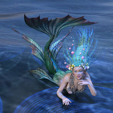 3D rendering of a fairy tale mermaid on blue ocean background