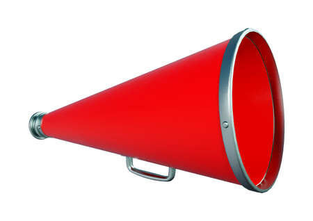3D rendering of a red vintage megaphone isolated on white background