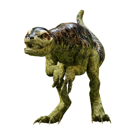 3D rendering of a dinosaur Tyrannosaurus hatchling isolated on white background