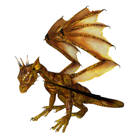 3D rendering of a golden fairy tale hatchling dragon isolated on white background