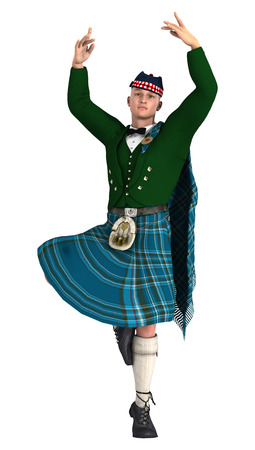 3D rendering of a highlander wearing a scottish kilt dancing isolated on white background