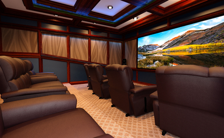 3D rendering of a home theater interior 版權商用圖片