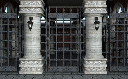 3D rendering of a medieval gatehouse