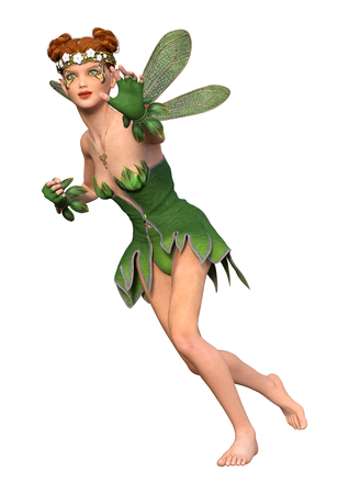 3D rendering of a spring fairy isolated on white background