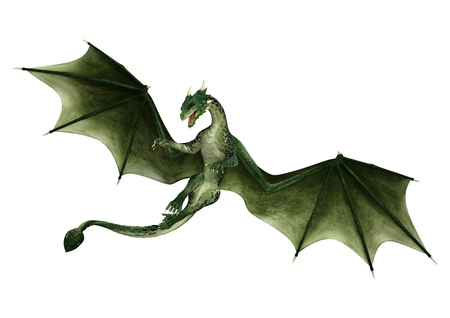 3D rendering of a green fantasy dragon isolated on white background
