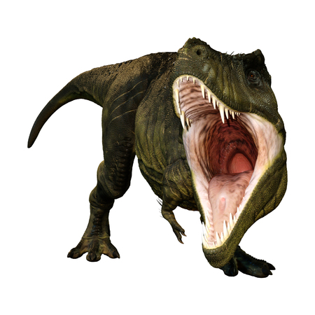 3D rendering of a dinosaur Tyrannosaurus Rex isolated on white background Фото со стока