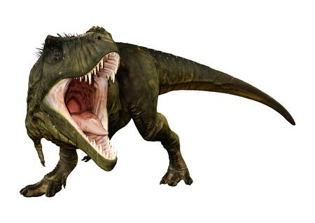 Representación 3D de un dinosaurio Tyrannosaurus Rex aislado sobre fondo blanco.