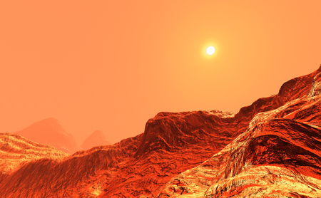 3D rendering of a red planet Mars landscape 免版税图像
