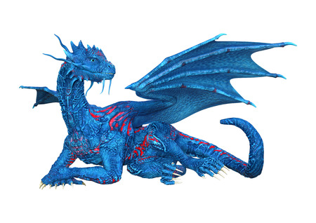 3D rendering of a blue fantasy dragon isolated on white background Stockfoto