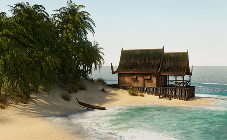 3D rendering of an island house on blue ocean and sky background