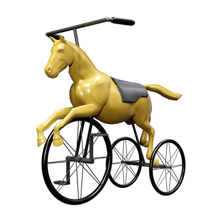 3D rendering of a retro toy horse bike isolated on white background