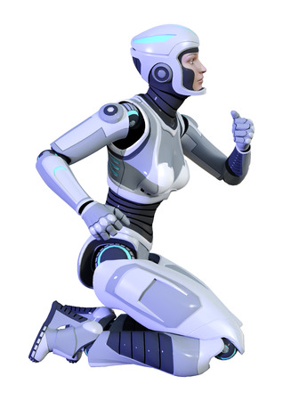 3D rendering of a female robot isolated on white background Stock Photo