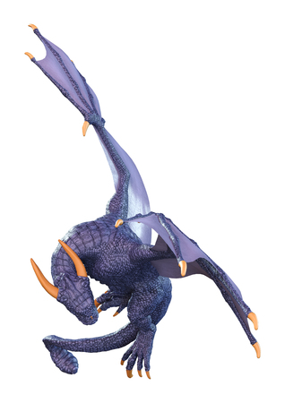 3D rendering of a blue fantasy dragon isolated on white background 스톡 콘텐츠