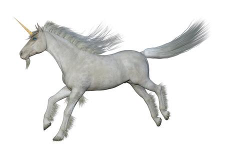 Representación 3D de un unicornio blanco de fantasía aislado sobre fondo blanco. Foto de archivo