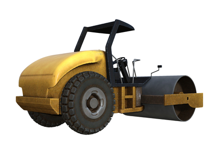 3D rendering of a road roller isolated on white background Imagens - 121971160