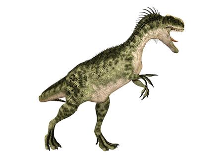 Representación 3D de un dinosaurio Monolophosaurus aislado sobre fondo blanco.