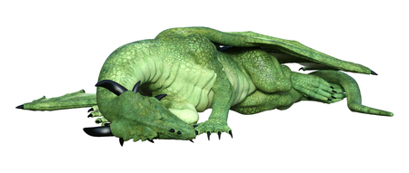 3D rendering of a fantasy dragon isolated on white background Фото со стока - 122749941
