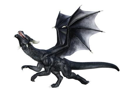 Representación 3D de un dragón de fantasía aislado sobre fondo blanco. Foto de archivo