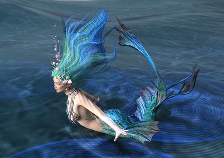 3D rendering of a fairy tale mermaid on blue ocean background