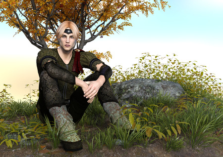3D rendering of a fairy tale prince sitting in a forest