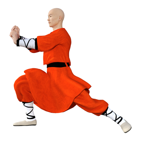 3D rendering of a monk exercising isolated on white background