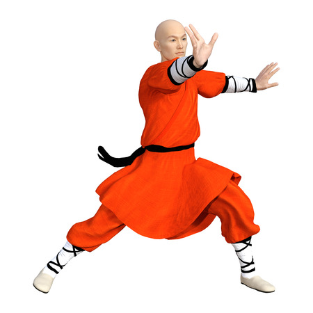 3D rendering of a monk fighting isolated on white background