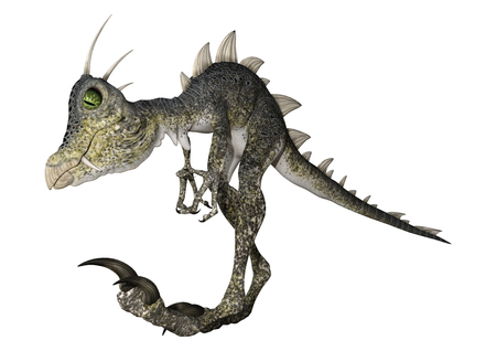 3D rendering of a fantasy reptile dinosaur isolated on white background