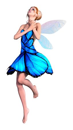 3D rendering of a beautiful fantasy fairy isolated on white background