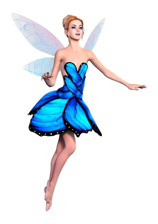3D rendering of a beautiful fantasy fairy isolated on white background Imagens - 124885870