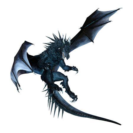 Representación 3D de un dragón de fantasía aislado sobre fondo blanco.