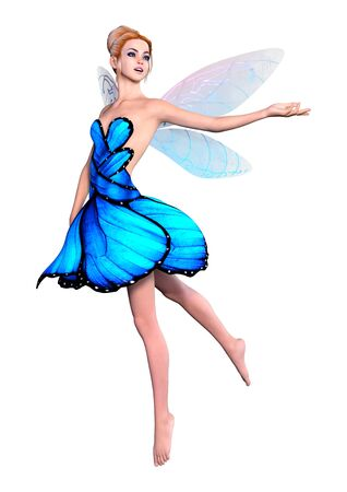 3D rendering of a beautiful fantasy fairy isolated on white background Imagens - 124885880