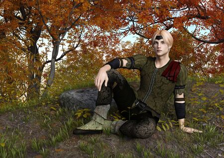 3D rendering of a fairy tale prince sitting in an autumnal forest