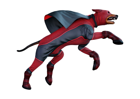 3D rendering of a dog wearing a super hero costume isolated on white background