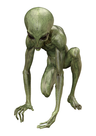 3D rendering of a green alien isolated on white background 写真素材