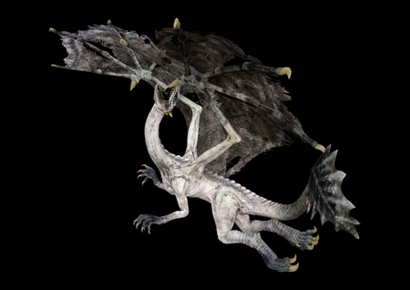 3D rendering of a fantasy dragon isolated on black background Zdjęcie Seryjne