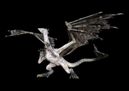 3D rendering of a fantasy dragon isolated on black background Stockfoto - 129229933
