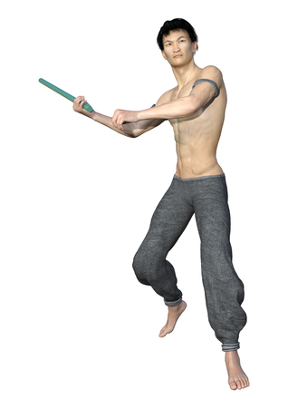 3D rendering of a young Asian man fighting isolated on white background 写真素材