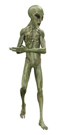 Representación 3D de un extraterrestre verde aislado sobre fondo blanco.