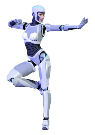 3D rendering of a female robot isolated on white background Banco de Imagens - 130063929