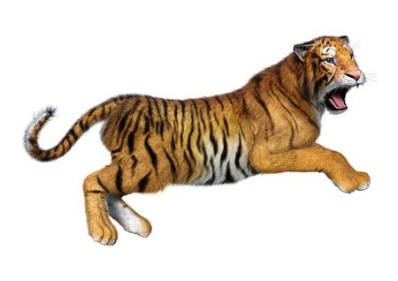 Representación 3D de un tigre gato grande aislado sobre fondo blanco.