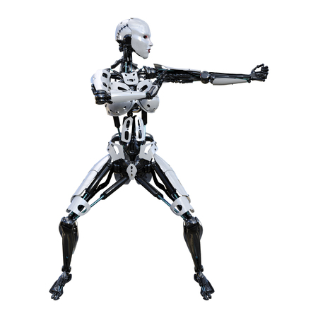 3D rendering of a female robot isolated on white background Banco de Imagens - 130064020