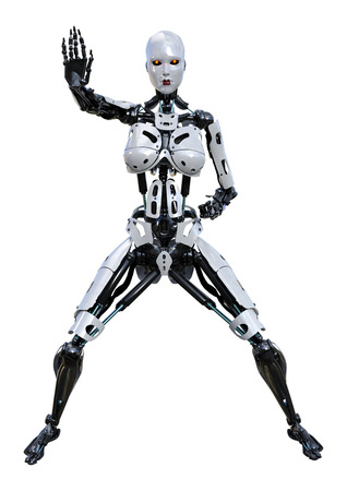 3D rendering of a female robot isolated on white background Banco de Imagens - 130064033