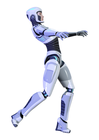 3D rendering of a female robot isolated on white background Banco de Imagens - 130063974