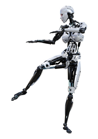 3D rendering of a female robot isolated on white background Banco de Imagens - 130063978