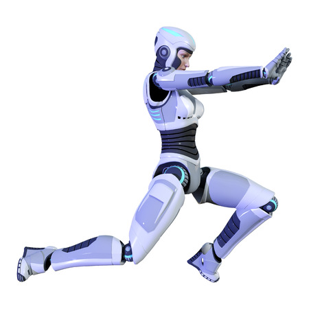 3D rendering of a female robot isolated on white background Banco de Imagens - 130063983